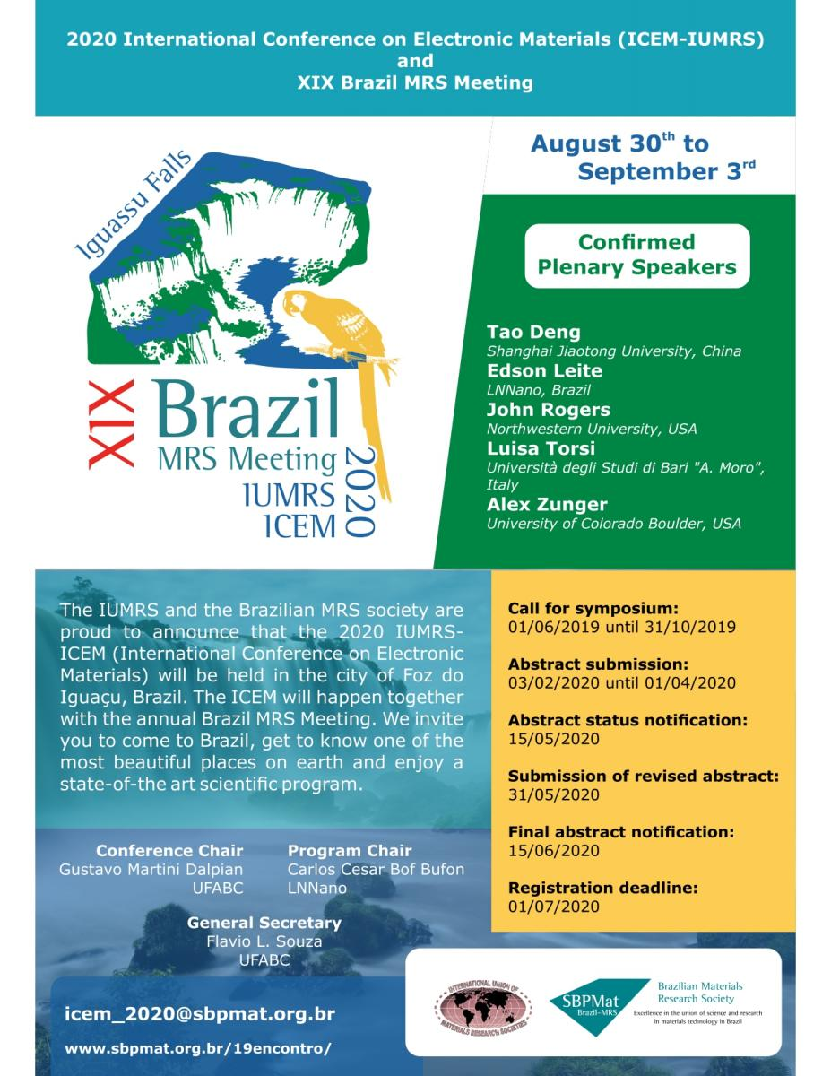 XIX Brazil MRS Meeting / IUMRS ICEM 2020 | EMRS